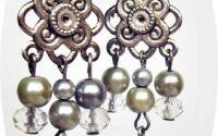 cercei candelabre argintii cu perle si cristale