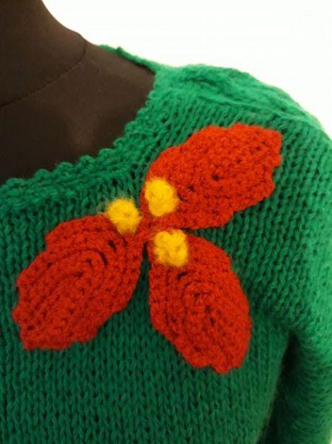 Bluza verde decorata festiv