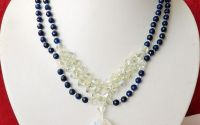 Colier din agate albastre cu medalion