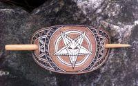 Agrafa din piele sculptata manual pentagram