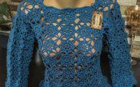 Bluza crosetata turcoaz