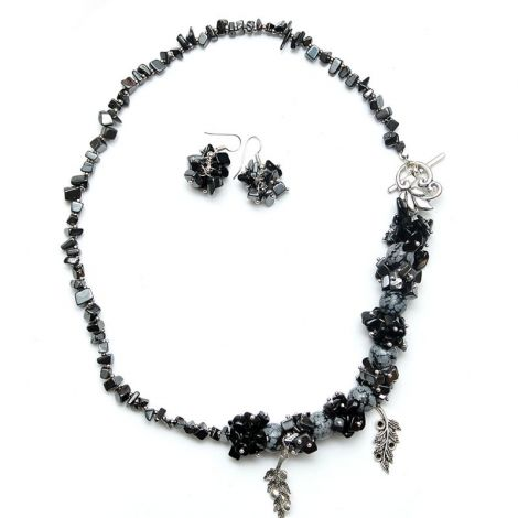 Colier obsidian onix si hematit cu cercei asortati