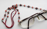 Lant ochelari din snur si margele  modelate manual