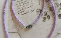 Colier lila margele portelan rhinestone Swarovski