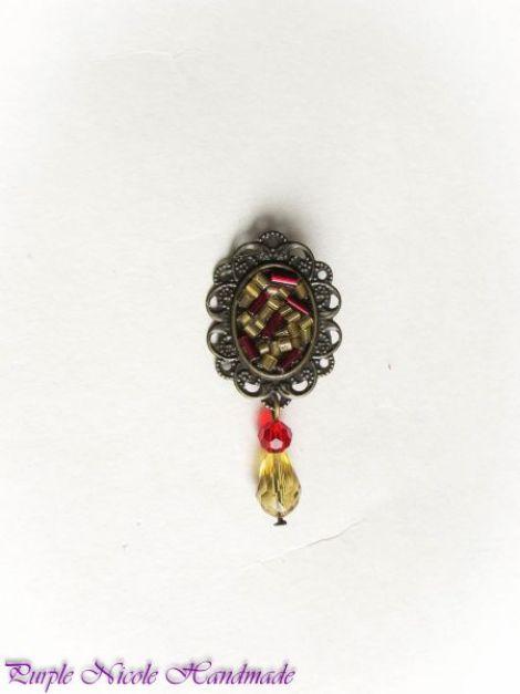 Mozaic - brosa rosu auriu martisor