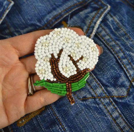 Brosa Floare de Bumbac