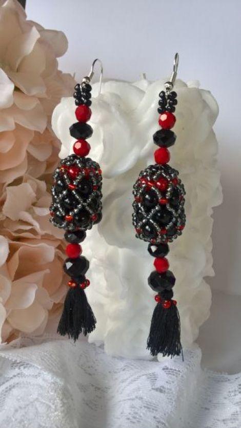Cercei handmade rosu si negru