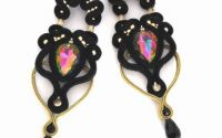 Cercei negrii statement soutache