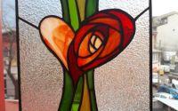 Tablou vitraliu trandafir in inima