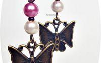 cercei antichizati cu fluturi si perle roz