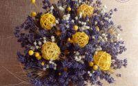 Buchet de mireasa cu lavanda si flori galbene