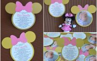 invitatie botez Minnie Mouse auriu roz