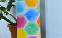Tablou Acuarela- Hexagoane colorate