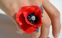 Suav de vara - Inel Mac rosu reglabil