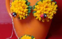 Cercei si lant floare cu gargarita