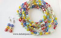 Set de bijuterii margele de sticla multicolore
