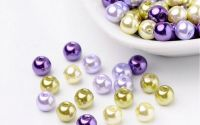 100 buc margele sticla perlate Lavender Mix 6mm