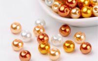 50 buc margele sticla perlate Caramel Mix 8mm
