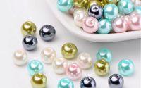 50 buc margele sticla perlate Pastel Mix 8mm