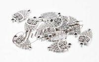 Charm bufnita argintiu antichizat