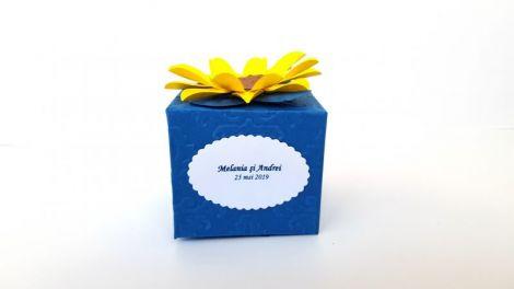 Marturii nunta sau botez cutiuta Floarea soarelui
