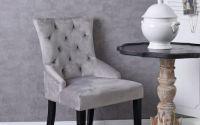 Scaun din lemn masiv negru si tapiterie gri
