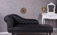 Sofa Chesterfield din lemn masiv negru cu tapiteri