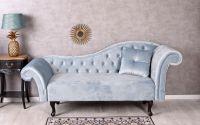 Sofa Chesterfield din lemn cu tapiterie albastru