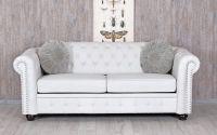 Sofa Chesterfield din lemn masiv alb cu tapiterie