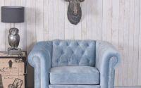 Fotoliu Chesterfield din lemn cu tapiterie albastr