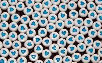 15buc margele acril albe inima albastra disc 7x4mm