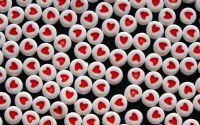 15 buc margele acril albe inima rosie disc 7x4mm