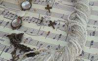 Colier vintage bronz sidef cu cercei libelula