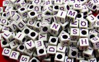 500buc litere cub mix scris DarkMagenta 6x6x6mm