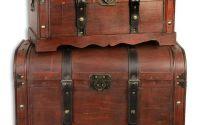 Set doua cutii din lemn masiv cu curele din piele