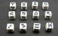 Margele zodii albe scris negru cub 7x7mm 12buc