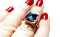 Inel din cupru cu piatra soarelui albastra IN043
