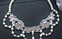 COLIER renaissance lucrat din cristale si perle