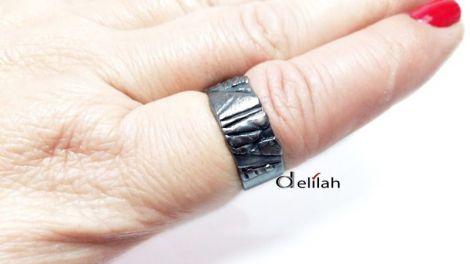 Inel unisex tip verigheta din cupru electroformat