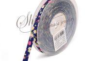 Panglica Midnight Blue cu flori 9mm