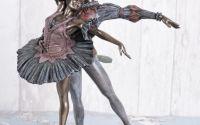 Statueta din ceramica cu bronz cu doi balerini