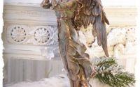 Statueta din ceramica cu broz cu ingeras cu trompe