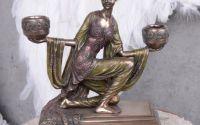 Sfesnic Art Nouveau din ceramica cu bronz cu doua