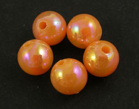 50buc margele acril AB rotunde Orange 8mm