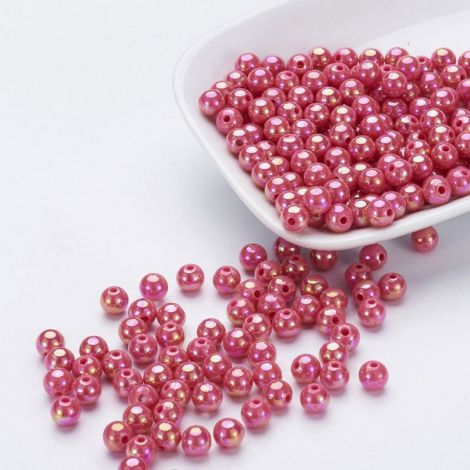 50buc margele acril AB rotunde Cerise 8mm
