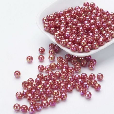 50buc margele acril AB rotunde Crimson 8mm