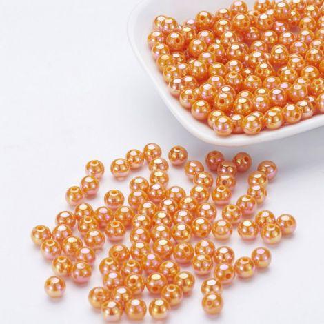 50buc margele acril AB rotunde Orange 8mm