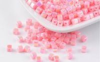 100buc margele acril AB color cub Pink 4mm