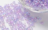 300buc margele acril bicon Lilac color 4x4mm