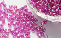 300buc margele acril bicon Magenta color 4x4mm
